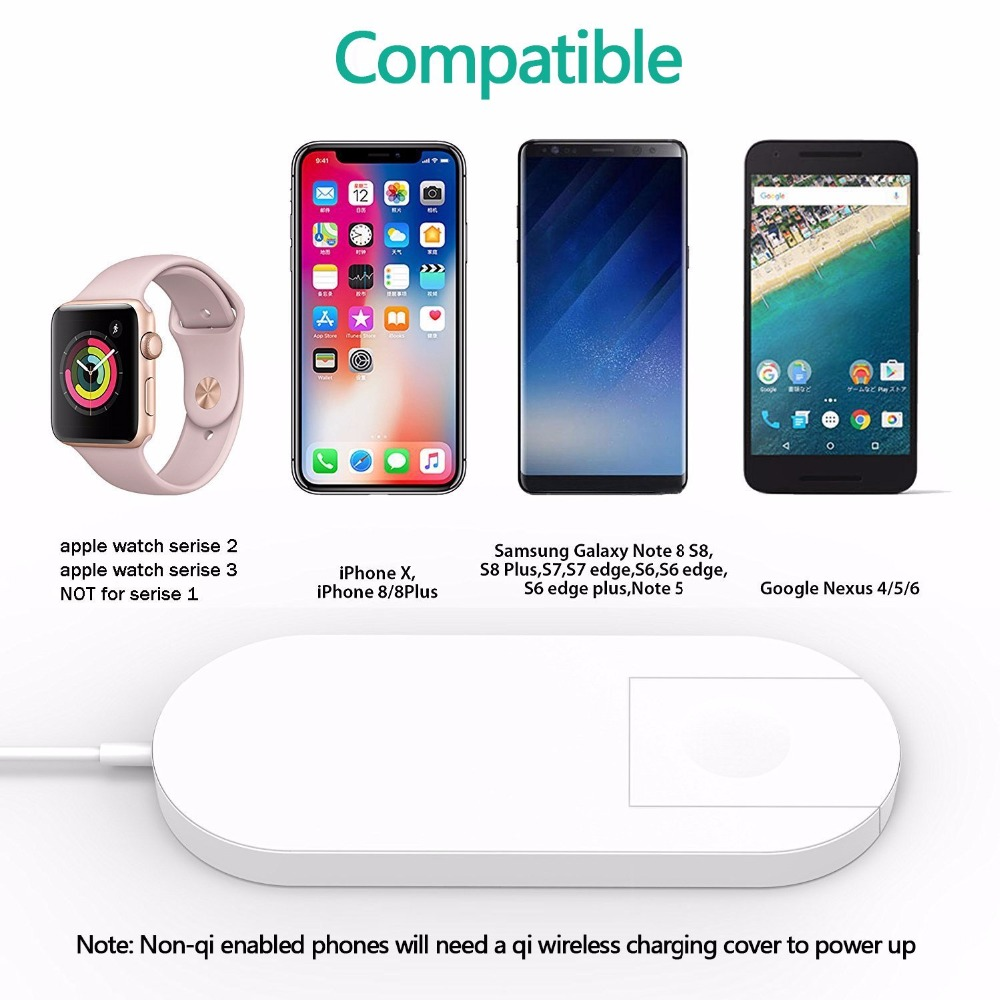 New Portable 2 in 1 Qi Standard Wireless Charger for iPhone X 8 Plus Apple Watch 3 Cordless Powerful Wireless Charging Pad Plate 10