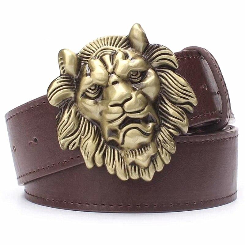 Men's Belt Gold Lion Head Male Strap Fashion Pu Leather Belt Metal Buckle Casual Pants Belt Big Golden Lion King Head