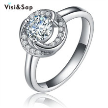Vissap S925 Flower ring White Gold Filled Rings For Women Engagement Wedding romantic cz diamond bijoux Wholesale VSR068