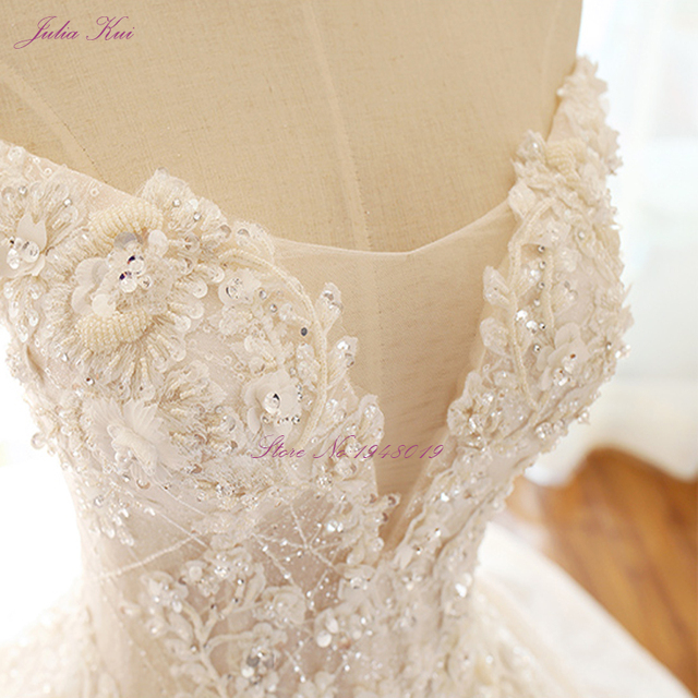 Julia Kui High-end Strapless Invisible Neckline Wedding Dresses With Pearls Beading Ball Gowns Robe de Mariage 5