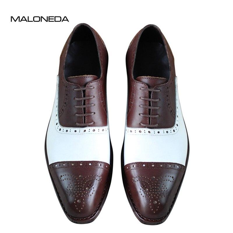 Zapatos de vestir con cordones de cuero genuino 100% genuino blanco y - Zapatos de hombre