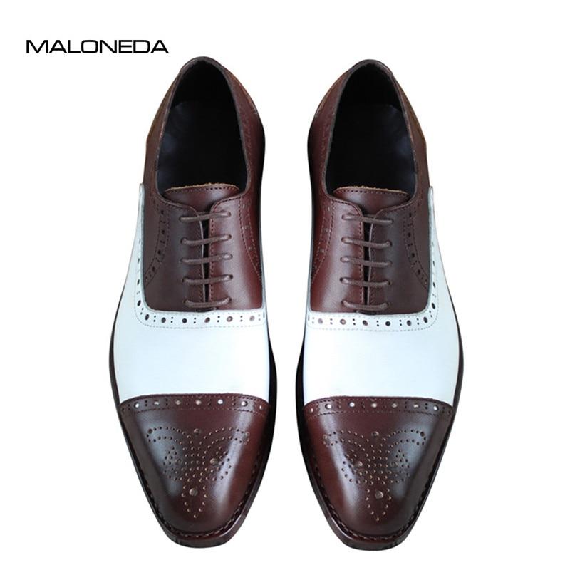 Këpucë me dorë të përziera me ngjyra të bardha dhe kafe 100% - Këpucë për meshkuj