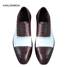 MALONEDA Men Brogues Shoes 100% Genuine Leather Lace-up Casual With Goodyear Welted