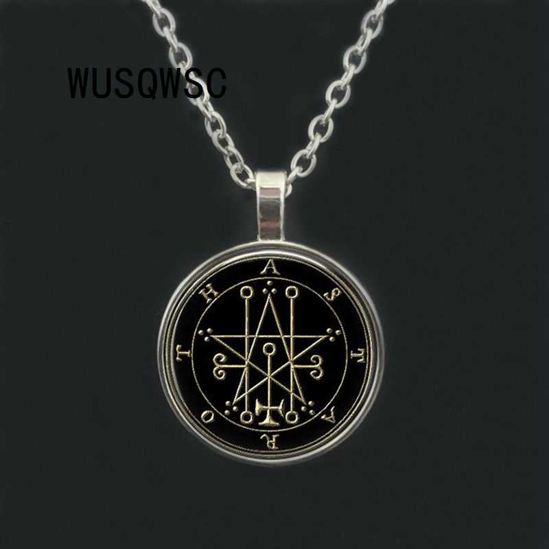 e2684380d59 1pcs   lot Seal Of Astaroth Seal Logo Pendant Necklace Art Vintage Silver  Chain Choker Statement