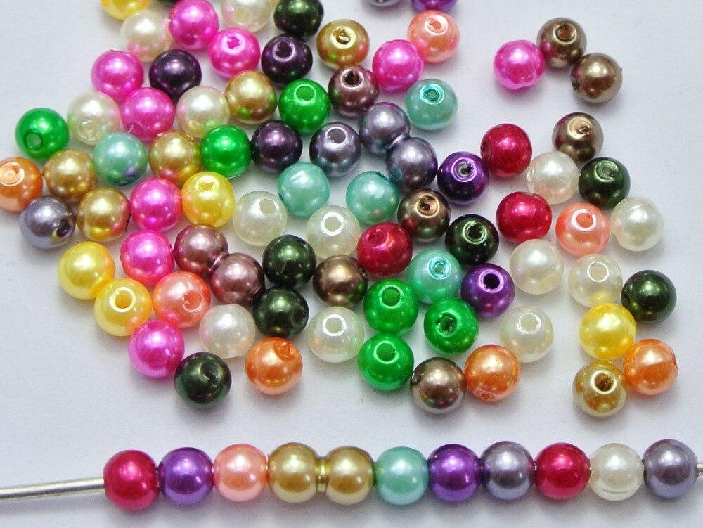 500 шт. смешанные Цвет Пластик искусственный жемчуг круглый Бусины 6 мм с искусственным жемчугом