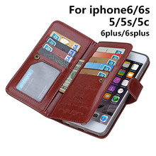 Phone Cases for Apple IPhone6S Phone Bag Case for IPhone6 Housing Card Holder Wallet Coque Multicard Crazy Horse Capa Shell SL12