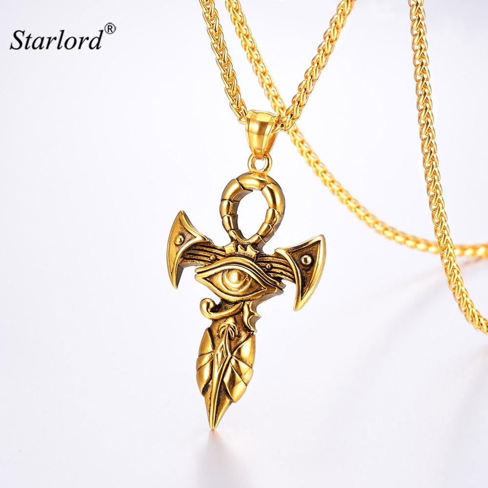 Eye of Horus Pendant Necklace Gold/Stainless Steel Pharaoh ...