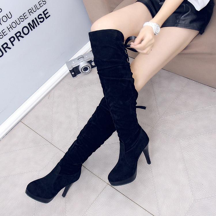 Botas Invierno De Cordón Caballero Mujeres Las Moda Stiletto Personalidad Después El Negro Otoño Y Tacón 2017 TqHItI