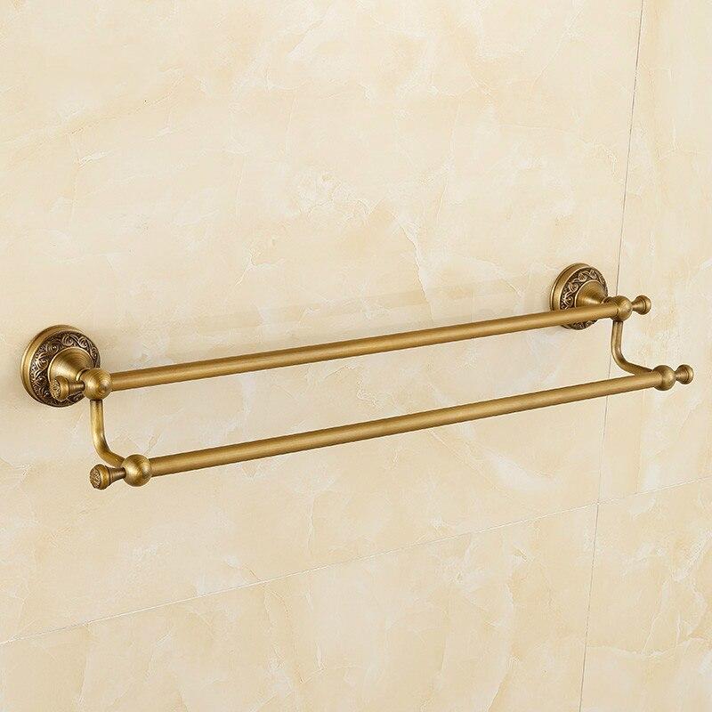 European Brass 60 cm Bathroom Towel Bar Copper Carved Antique Double Towel Rack  Bathroom Accessories clean and elegant bathroom towel bar serves a full european antique copper bathroom accessories 606r