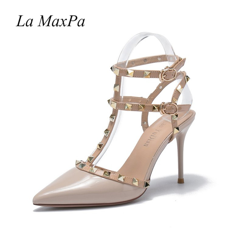 Pointed Toe Studded Strappy Slingback Leather Pumps Stilettos Sandals Party Evening Prom Thin Heel Ankle PU Wedding Shoes rockstud toe post strappy pu sandals