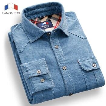 Langmeng Spring 100% Cotton Corduroy dress Shirt Men Casual Shirts Mens Long Sleeve Clothes Slim Camisa Masculina Camisas Hombre