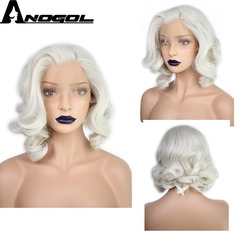 Anogol Platinum Blonde Free Parting Short Body Wave Bob High Temperature Fiber Natural Hair Synthetic Lace