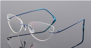Image 3 - Cat eye titanium không có vành kính Đọc Sách Siêu ánh sáng phụ nữ hợp kim không Có Vành Kính đọc sách presbyopic Kính + 0.50 đến + 6.00