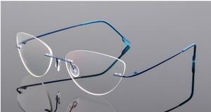 Image 3 - Cat eye titanium rimless Reading Glasses ultra light women alloy Rimless reading eyeglasses Presbyopic glasses +0.50 to +6.00