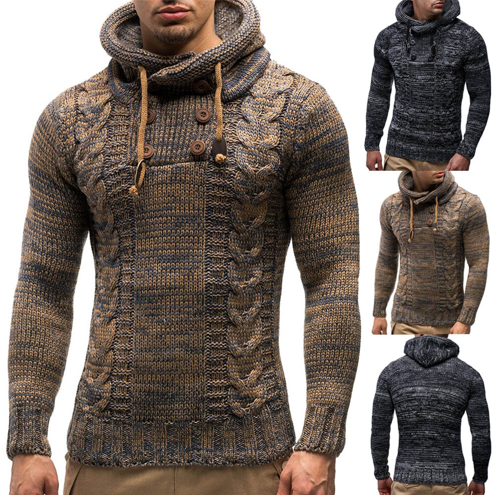 Men Sweater Coat Hoodied Men's Autumn Winter Knitted Pullover Coat Hooded Sweater Jacket Outwear  кофта женская свитер женский