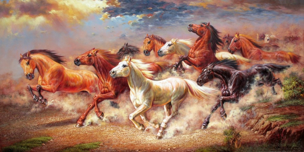 printed one piece posters modern horses running oil ...