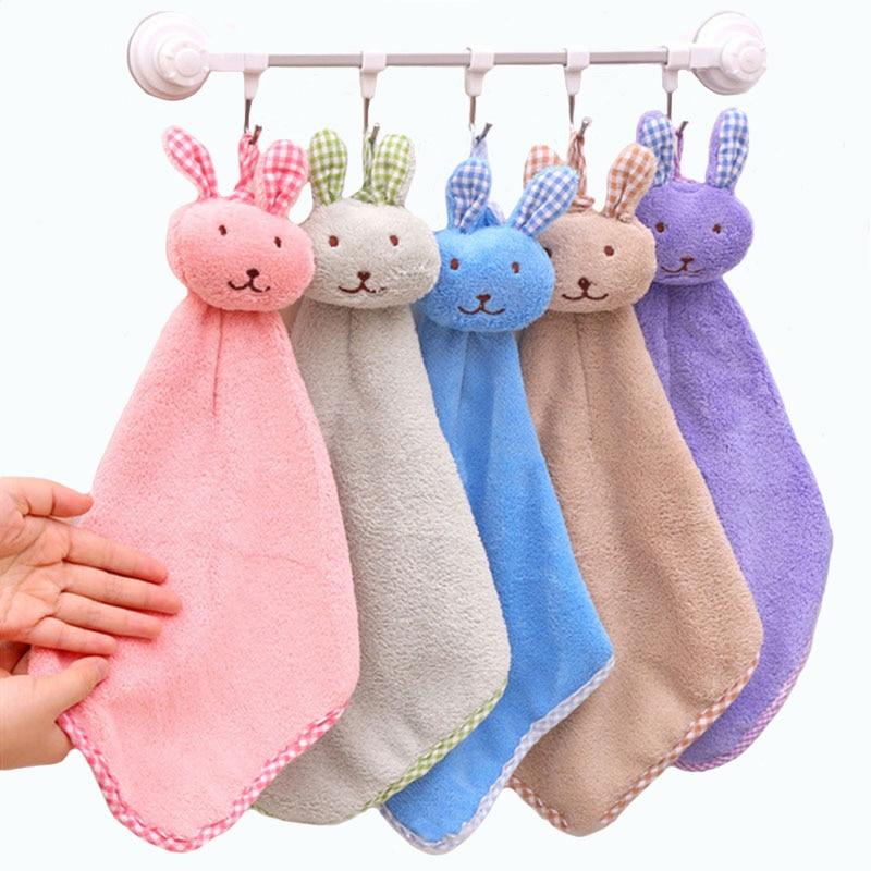 Cartoon Babys Towels Coral Velvet Kids Towel Cute Rabbit Design For Boys & Girls Wipe Hanging Bathing Towels Hangable Hand Towel