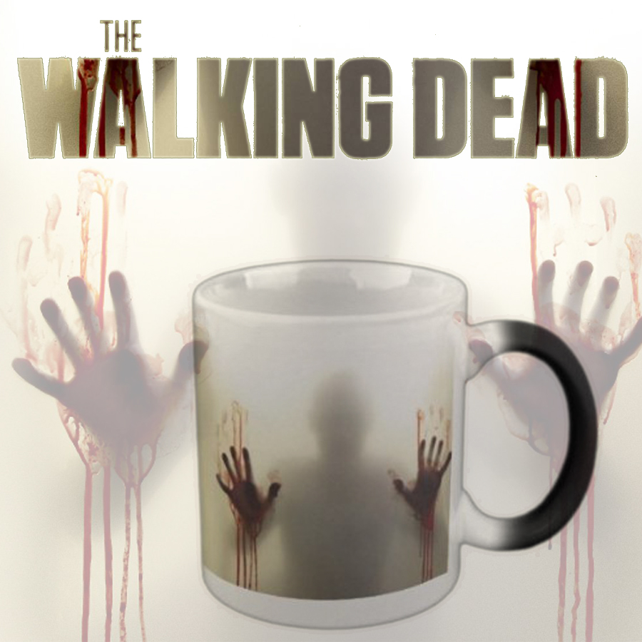 Drop shipping Black Ceramic Zombie Color Changing Coffee Mug Heat sensitive Magic Tea cup mugs Christmas Halloween gift 110Z