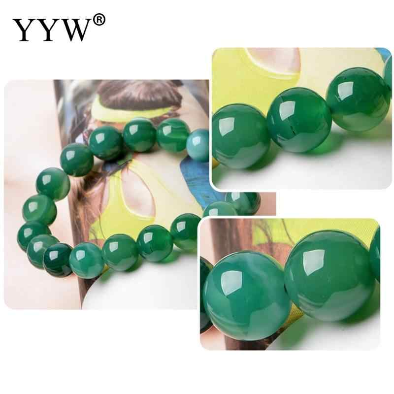 6 8 mm azul Natural redondo suelto cuentas de piedra para joyería verde granos DIY brazalete verde cuentas de gemas gema azul pulsera de Calcedonia