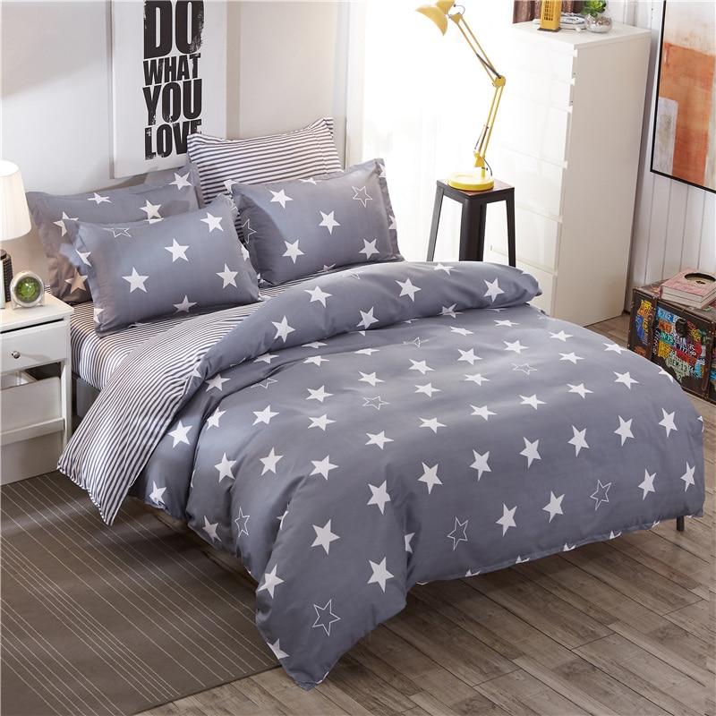 ᗛModa Cinza Estrelas 4 Pcs Twin/Full/Queen/King Size Roupa de