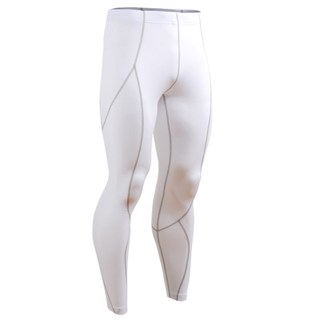 Men Bodybuilding Skin Tight Pants Casual Fitness Breathable Compression Pure Color Long Pants