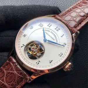 Image 4 - Top Merk Luxe Tourbillon Mens Mechanische Horloges Mode Krokodil Lederen Mannen Tourbillon Horloge 50M Waterdicht 1963