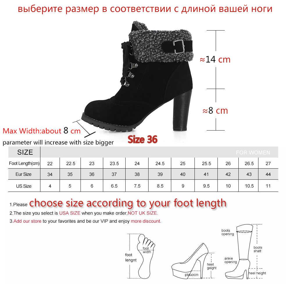 BONJOMARISA yeni artı boyutu 32-44 kış sıcak topuk kürk patik kadınlar 2020 kaymaz kış yarım çizmeler kadın yüksek topuklu ayakkabılar kadın