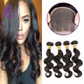 Indian Body Wave With Closure Deals 4 Bundles Indian Virgin Hair With Closure Human Hair 4*4 Lace Closure Middle/Free/Three Part