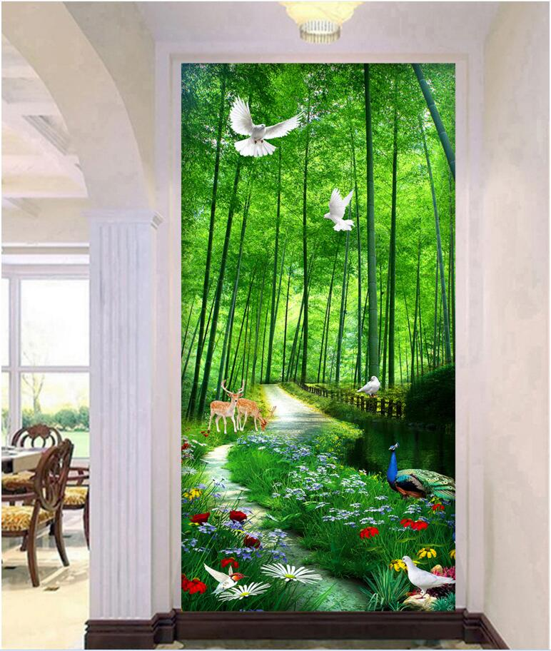 Custom Mural Photo 3d Wallpaper Bamboo Forest Path Scenery