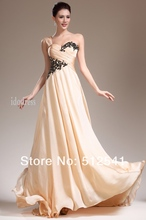 цена на Lace Chiffon Evening Dresses 2014 Graceful One-shoulder Sheath Column Floor Length Beads Ruffle yk-8A40