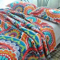 New arrival gorgeous flowers 100% cotton full queen size applique patchwork quilt 3pcs export home textile Free Shipping