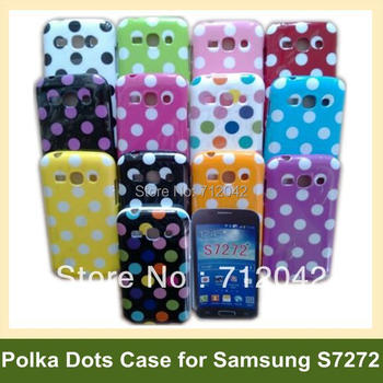 OEEKOI Polka Dots Soft Gel TPU Cover Phone Case for Samsung Galaxy Ace 3 S7272 S7270 Free Shipping image