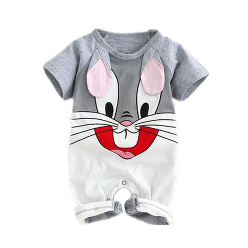 Cute Cartoon Animal Cotton Baby Romper Short-Sleeved Baby Boy Clothes Summer Infant Baby Girl Jumpsuit Toddler Clothing Overalls puseky 2017 infant romper baby boys girls jumpsuit newborn bebe clothing hooded toddler baby clothes cute panda romper costumes