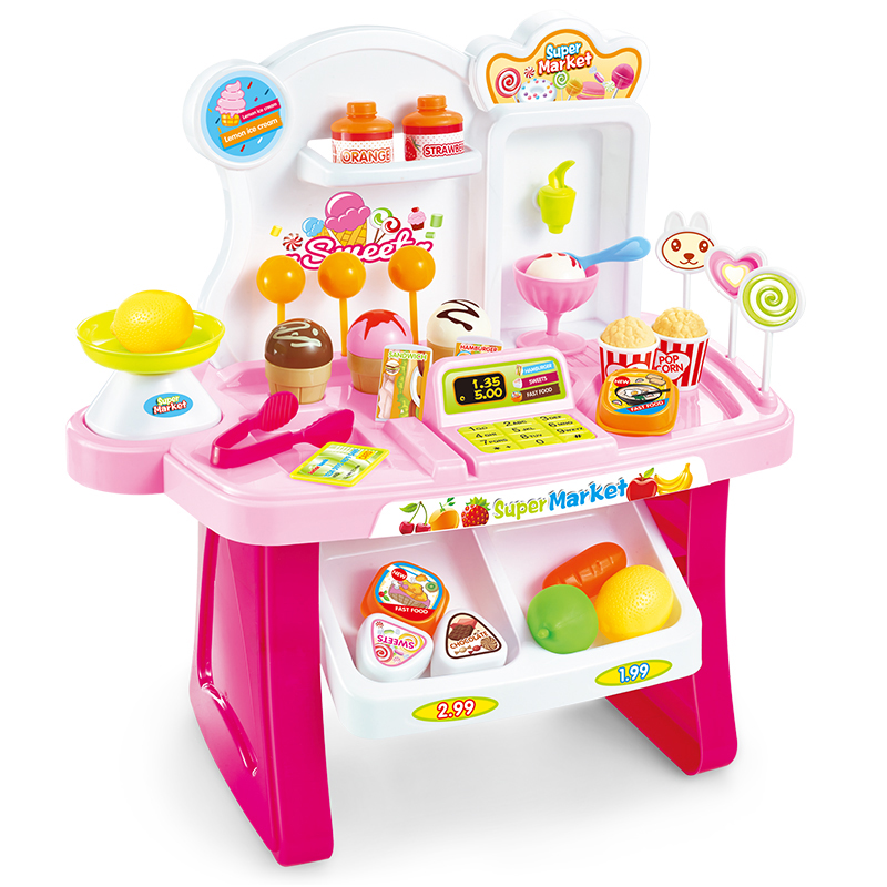 Supermarket Cash Register Toy Plastic Pretend Play Set Children Miniature Supermarket Shopping Simulation House Toy Brinquedos Игрушка