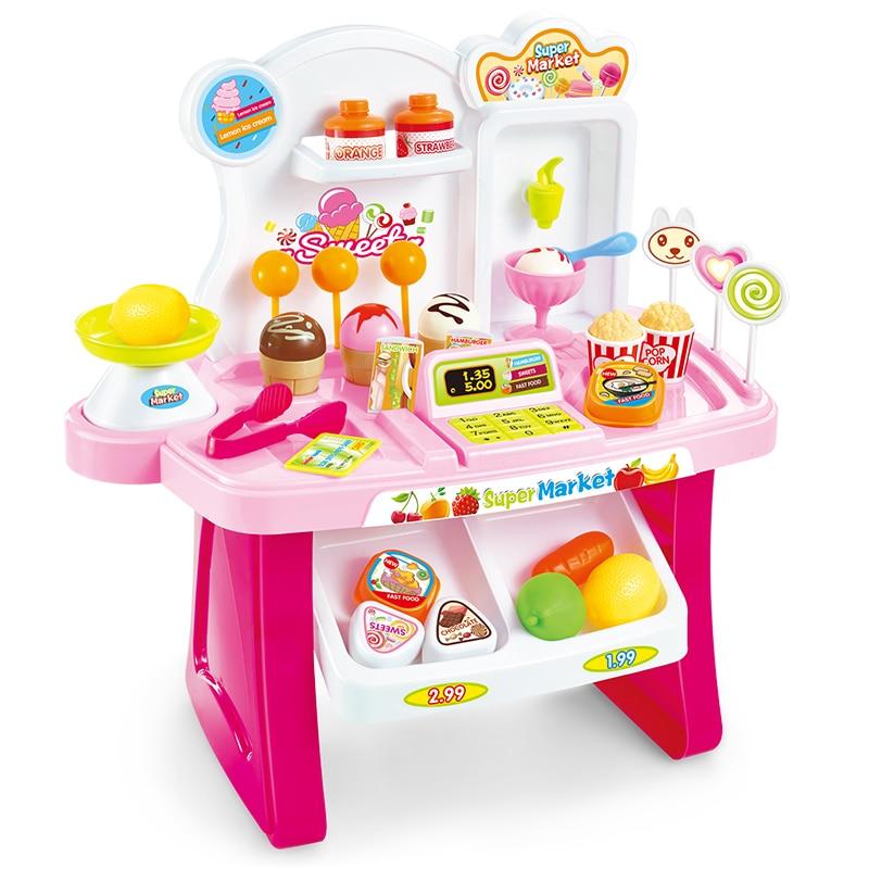 Kids Supermarket Cash Register Toy Mini Shopping Checkout Juguetes Plastic Miniature Pretend Play House Toy Simulation Briquedos