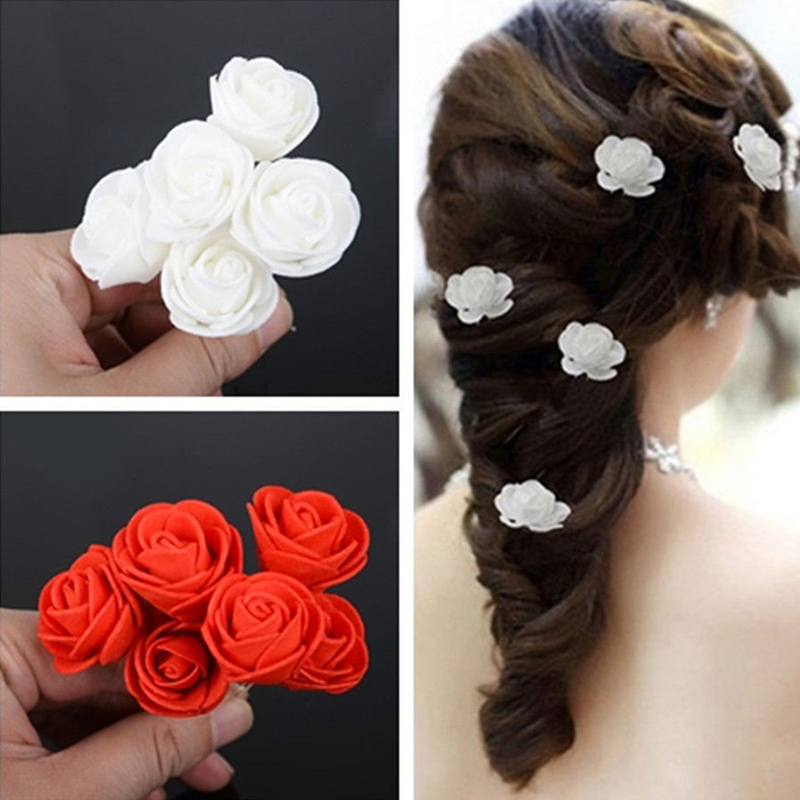 Fashion Women 6pcs Beauty Small Rose Flower Hair Pins Wedding Bridal Flowers Clips Bridesmaid