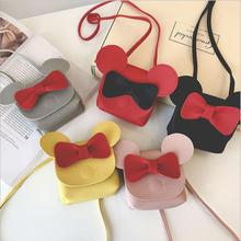 New Cute Mini Bags Children Bowknot Handbag For Girls Cartoon Mickey PU Leather Shoulder Bag Kids Fashion Messenger Bags