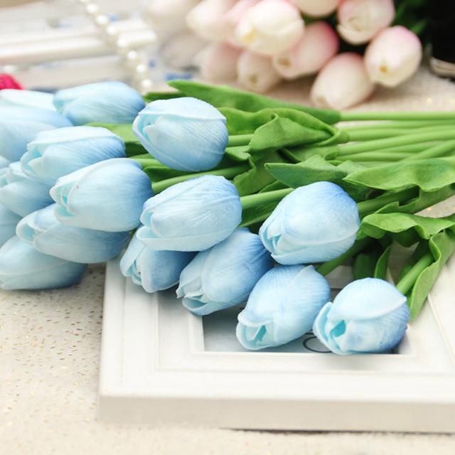 New Arrival 10pcs Multi Color Red Pink Real Touch Artificial Flower White Blue PU Tulip For Wedding Party Banquet Table Decor