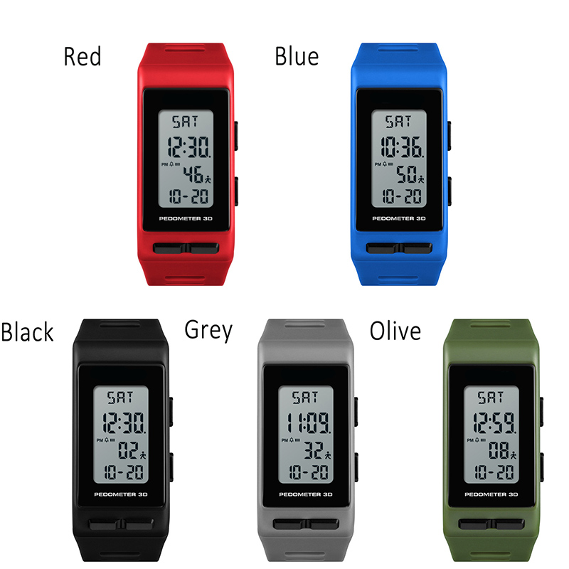 Men Digital Wrist Watch Rectangle 3D Pedometer Calories Alarm Waterproof Clock Hours Sport Watches LL@17