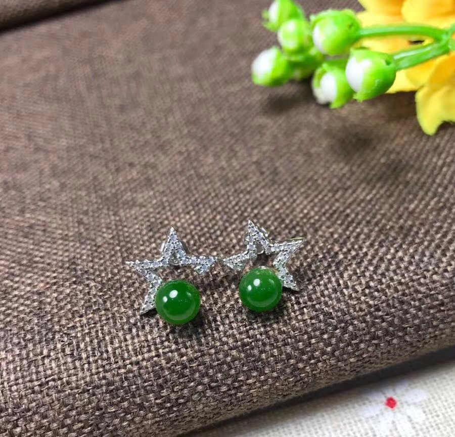 все цены на Natural green jasper Elegant earrings star stud earrings 925 silver natural gemstone earrings women girl fashion gift jewelry онлайн