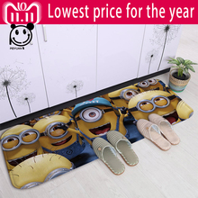PEIYUAN New Arrival Door Mat Fashion Washable Floor Printing Cartoon Cute Minions Rugs Carpets Soft Yoga Flannel Doormat