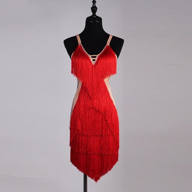 Good Quality Latin Dance Dresses For Ladies Custom-made Diamonds Tassel Red Skirts Wears Women Stage Club Ballroom Dress Fashion