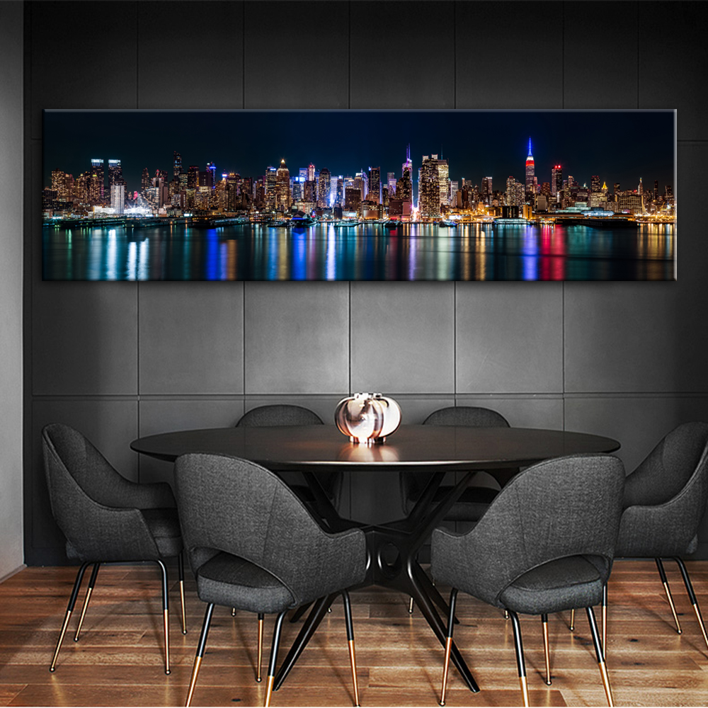 Skyline Of Manhattan Canvas Art Prints Night View Of New York City Posters And Prints Canvas Painting For Bed Room Cuadros Decor