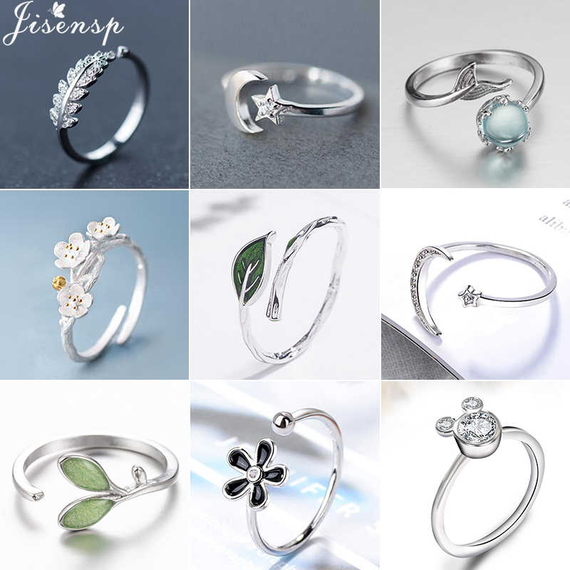 Jisensp CZ Statement Crystal Ring Silver Jewelry Crescent Moon Star Rings for Women Geometric Leaf Ring Cute anillos de boda