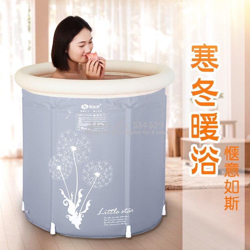 Folding Bathtub Home Large Adult Bath Barrel Thickening PVC Foldable Insulated Bath Bucket Inflatable Dandelion Printed Gray Red