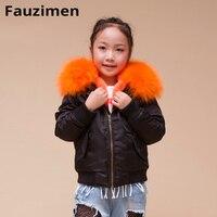 Large Raccoon Fur Hood Winter Warm Baby fur coat Kids Parka Real Raccoon Fur Collar Jacket Hot Sale Parka