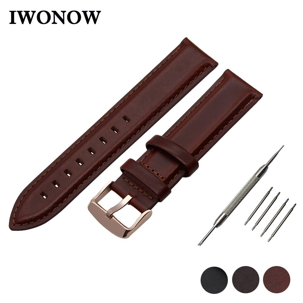 Genuine Leather Watch Band 13mm 18mm 20mm for Seiko Stainless Buckle Strap Wrist Belt Bracelet Black Brown + Spirng Bar + Tool все цены