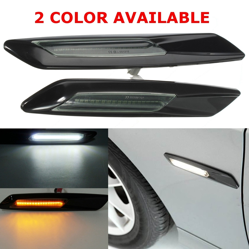 1 Pair Auto Door LED Side Marker Light For BMW E60 E82 E87 E88 E90 E91 Car Source Turn Signal Lamp Amber White 2x 24 smd led error free license plate light for bmw 1 series e82 e88 e39 e61n car light source