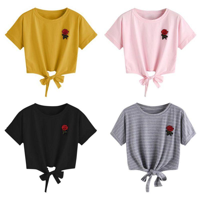 HTB1lt5cSpXXXXb2aFXXq6xXFXXXy - Embroidery Rose Short Sleeve Tops Tees JKP110