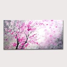 Ручная роспись, текстурированная палитра, нож, дерево, красный цветок, абстрактная Современная живопись маслом на холсте, настенная живопись, декор для гостиной